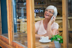 Senior woman talking on mobile phone while having coffee Stock Images