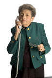 Senior woman telephone. Attractive senior woman business executive talkiing on phone royalty free stock image