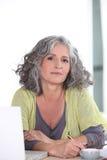 Senior woman telephoning Stock Photo