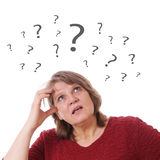 Senior woman thinking stock image