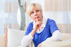 Senior woman thinking Royalty Free Stock Image
