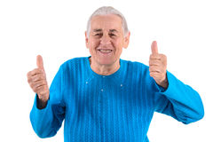 Senior woman thumbs up Royalty Free Stock Photo