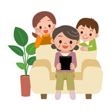 Senior woman to operate the tablet PC. Vector illustration.Original paintings and drawing Stock Photos