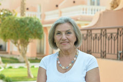 Senior woman in tropic resort Stock Photos