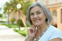 Senior woman in tropic resort Royalty Free Stock Photography