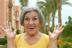 Senior woman in tropic resort Royalty Free Stock Photos