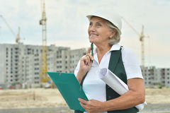 Senior  woman  in under construction Royalty Free Stock Photography