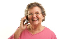 Senior Woman Using Cell Phone Stock Photography