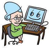 Senior woman using computer. Cartoon illustration of a nervous senior lady who is about to use a computer for the first time Royalty Free Stock Photos