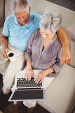 Senior woman using laptop in living room Stock Images