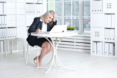 Senior woman  using laptop Royalty Free Stock Images
