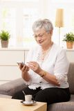 Senior woman using palmtop. Senior woman sitting on sofa, using palmtop, smiling Stock Photography