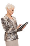 Senior woman using a tablet Royalty Free Stock Image