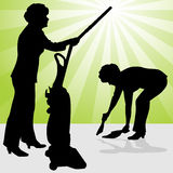 Senior Woman Using Vacuum and Dust Pan Stock Photos