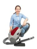 Senior Woman with Vacuum Cleaner Stock Photo