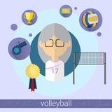 Senior Woman Volleyball Player Icon Royalty Free Stock Photography