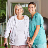 Senior woman with walker Stock Photography