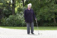 Senior woman walking. Elderly woman out walking in the park using a walking stick stock image
