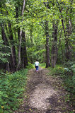 Senior woman walking down a forest path Stock Photo