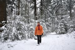 Senior woman walking in snowy forest Stock Photography