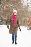 Senior Woman Walking Through Snowy Woodland Stock Images