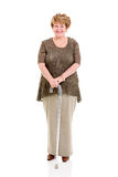 Senior woman walking stick Stock Photo
