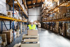 A senior woman warehouse worker or supervisor controlling boxes. Royalty Free Stock Photos