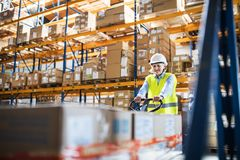 A senior woman warehouse worker pulling a pallet truck with boxes. Royalty Free Stock Image