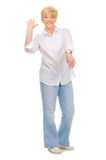 Senior woman with watches Royalty Free Stock Photography