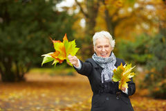 Senior woman waving with maple Stock Images