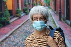 Free Senior Woman Wearing A Mask Outdoors To Flatten The Curve Stock Photo - 189952210