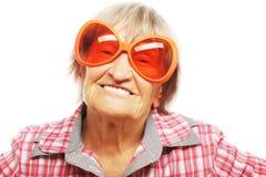 Senior woman wearing big sunglasses Stock Image