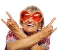 Senior woman wearing big sunglasses Royalty Free Stock Photo