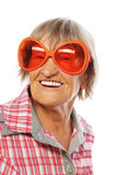 Senior woman wearing big sunglasses Royalty Free Stock Images