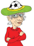 Senior Woman Wearing Crazy Hat, Soccer And Football Fan Stock Photos