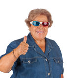 Senior woman wearing 3d glasses Royalty Free Stock Photography