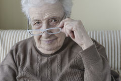 Senior woman wearing eyeglasses Stock Photo