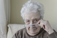 Senior woman wearing eyeglasses Stock Photography