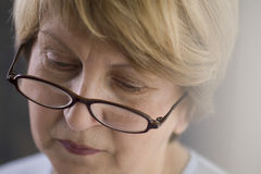 Senior Woman Wearing Glasses Stock Photo
