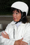 Senior woman wearing  helmet Royalty Free Stock Image