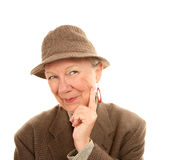 Senior Woman Wearing Male Clothing Stock Photo
