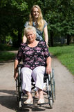 Senior woman in a wheelchair Royalty Free Stock Photography