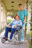 Senior woman in wheelchair Stock Image