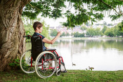 Senior Woman In Wheelchair Stock Images
