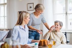 Senior woman in wheelchair with family sitting at the table at home, drinking. A happy senior women in wheelchair with family sitting at the table at home royalty free stock images