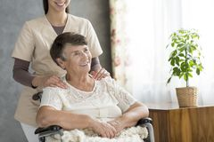 Senior woman in the wheelchair Royalty Free Stock Images