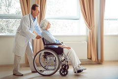 Senior woman in wheelchair with her doctor Stock Image