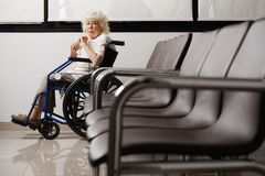Senior Woman On Wheelchair Royalty Free Stock Image