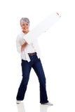Senior woman white board Royalty Free Stock Photos