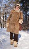 Senior woman in winter Stock Photos